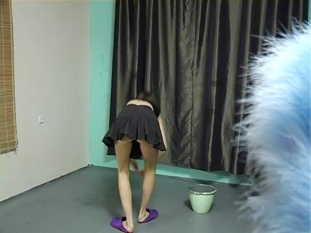 Pussy up skirt of girl washing the floor