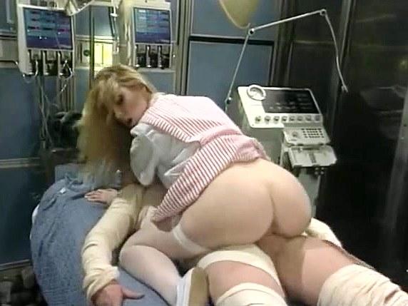 Capri Cameron, Brian Surewood in panty-less nurse fucks a patient in seventies porn